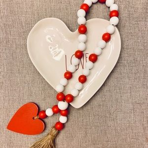 Valentine's Red and White Farmhouse Beads w Tassel